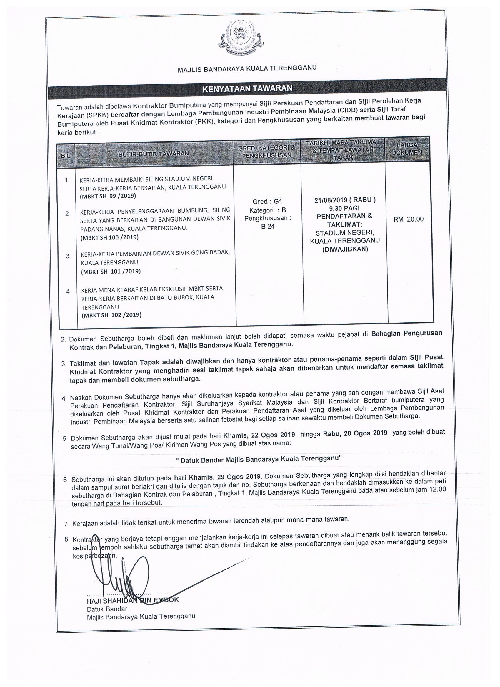 Arkib Tender Sebutharga Portal Rasmi Majlis Bandaraya Kuala Terengganu Mbkt
